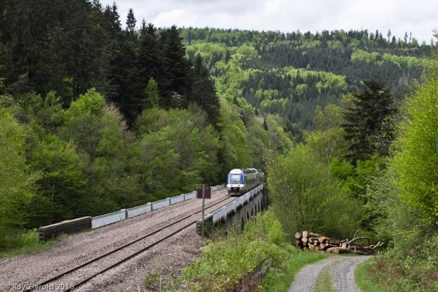 Nach Kreuzung in Rothau kommt X 76644 mit einem weiteren Triebwagen hinauf in Richtung Saint-Dié gefahren und überquert gerade das Viadukt von Fouday.